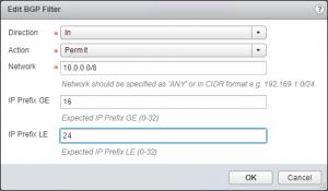 BGP Filter GE 16 LE 24